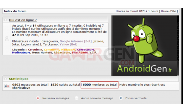 AndroidGen screen membres