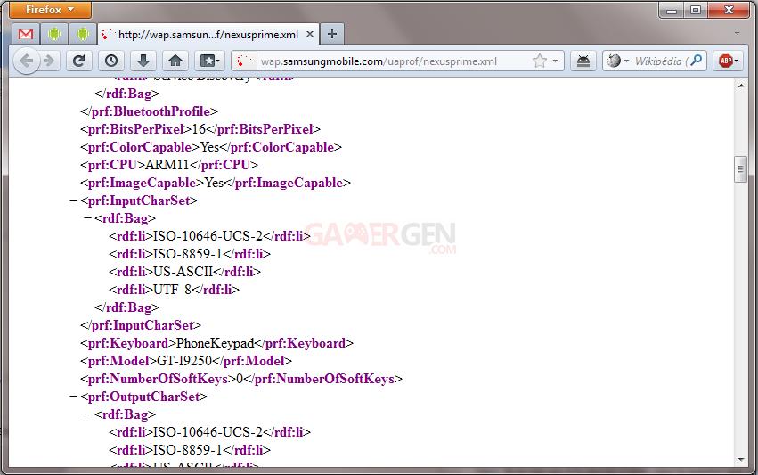 nexusprime.xml - Screenshot Mozilla Firefox de l'user agent du Nexus 3 alias Nexus Prime, produit par Samsung