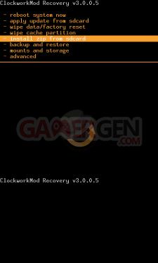ClockworkModRecovery-3.0.0.5-principal-menu