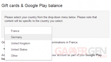 Google Play Gift cards_France_Allemagne