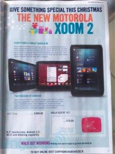 Motorola Xoom II - Annoncée en Europe par Carephone Warehouse pour les fêtes de fin d'année (2011)