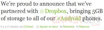 Tweet de @htc sur Twitter, le 24 octobre 2011 vers 21h - HTC et Dropbox ont conclu un accord de partenariat